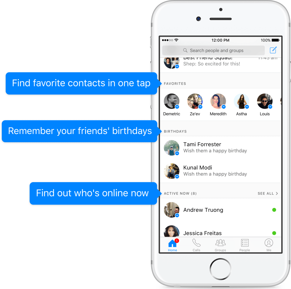 Facebook Messenger home UI