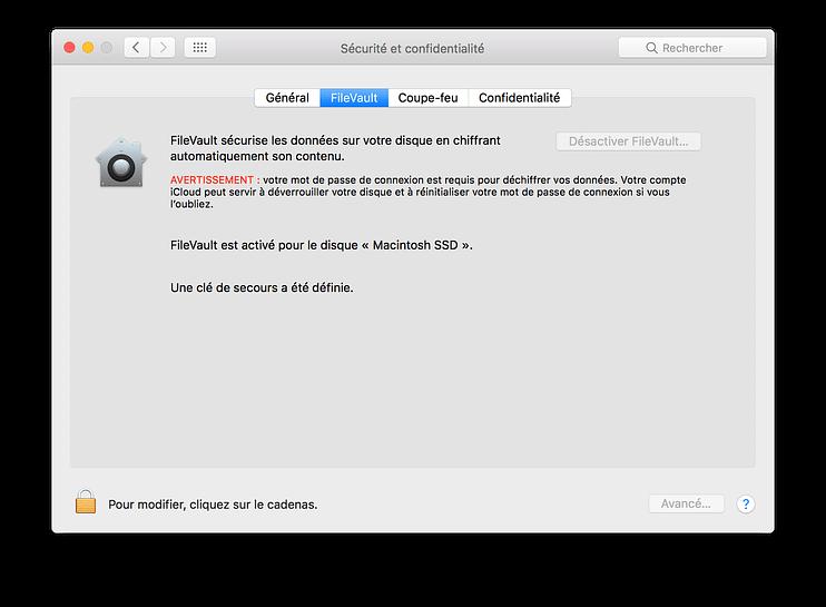Protéger ses données avec FileVault 2