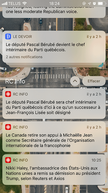 Notifications déployés iOS 12