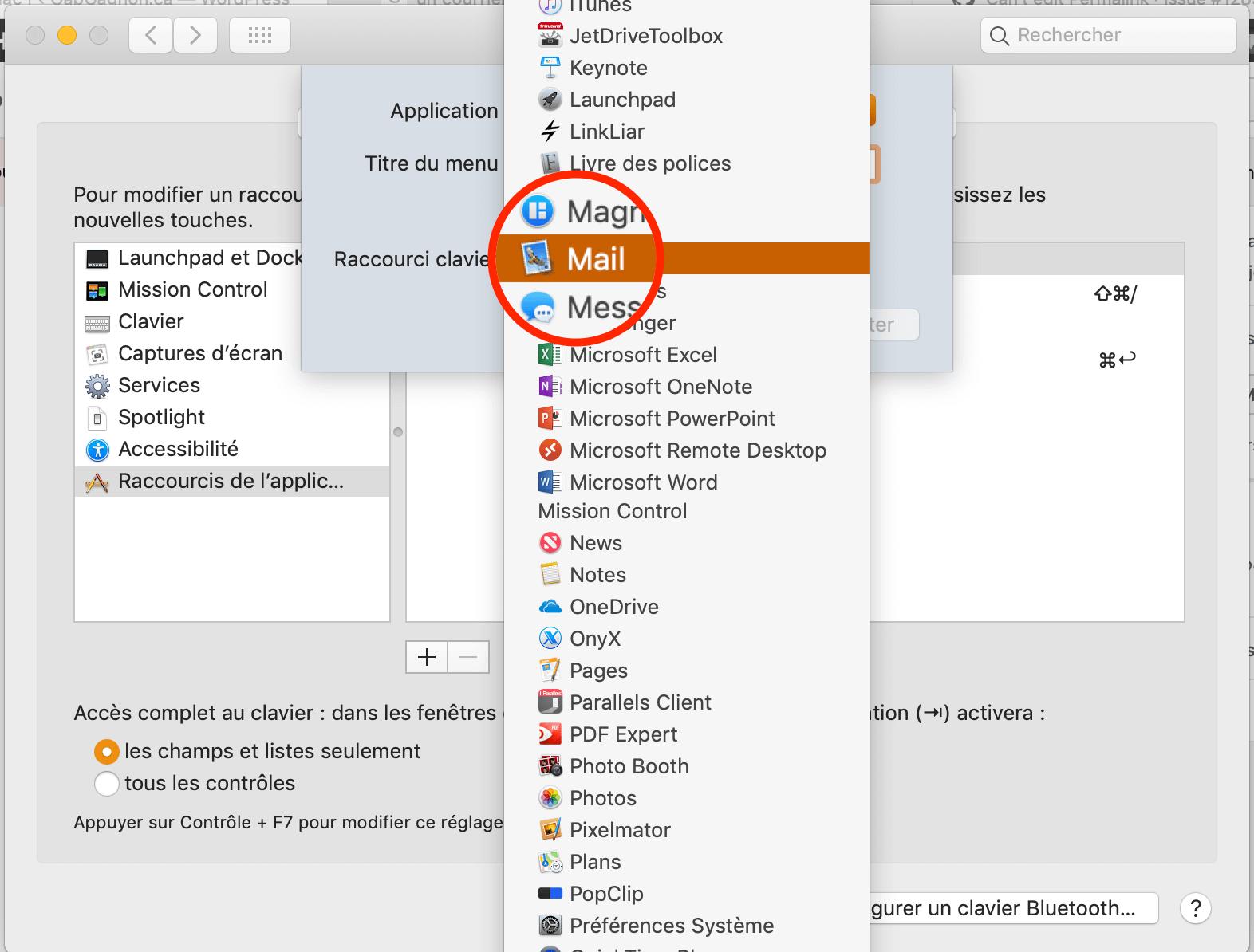 Choisir l'app Mail dan les préférences système