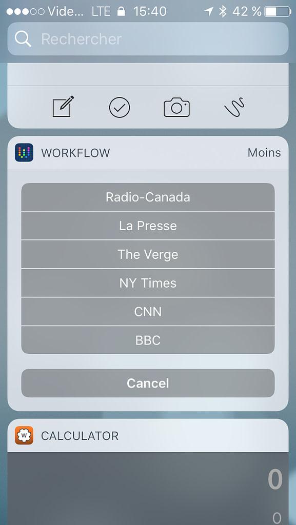 Widget iOS 10 Workflow